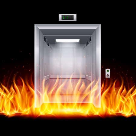 fire door: Realistic Empty Modern Elevator Door in Fire Illustration