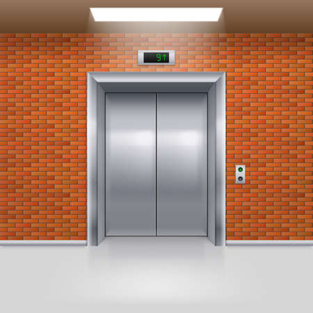 hotel rooms: Realistic Metal Elevator with Closed Door in a Brick Wall