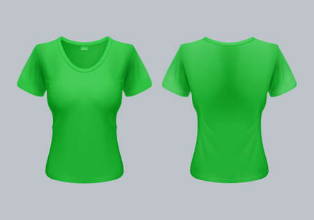raglan: Women T-Shirt Template Back and Front Views in Light Green Illustration