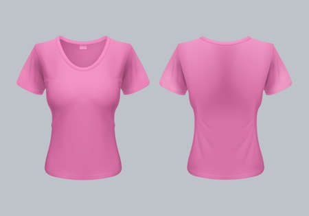 tshirt template: Women T-Shirt Template Back and Front Views in Pink
