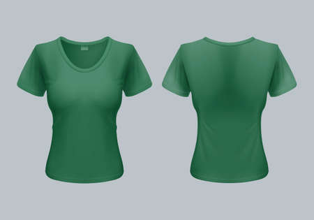 tshirt template: Women T-Shirt Template Back and Front Views in Green Color Illustration