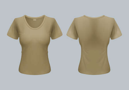 front views: Women T-Shirt Template Back and Front Views in Olive Color