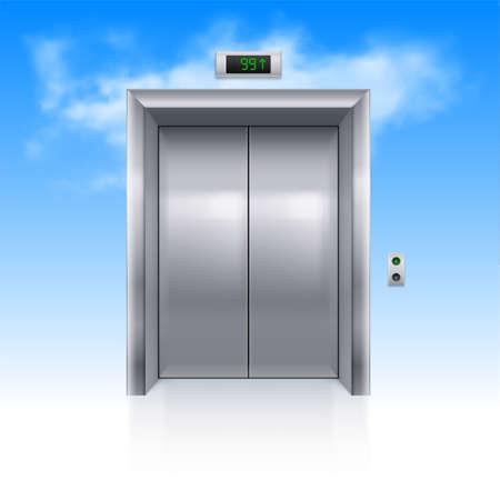 sky cloud: Realistic Metal Modern Elevator with Closed Door in Sky