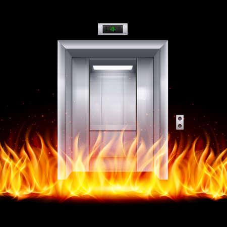 lift gate: Half Open Chrome Metal Elevator Door in Fire Illustration