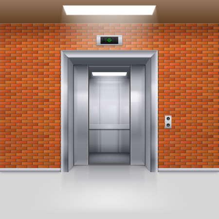 impasse: Half Open Metal Elevator Door in a Brick Wall Illustration