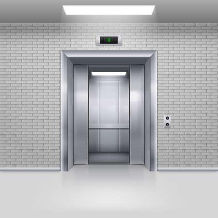 impasse: Half Open Chrome Metal Elevator Door in a Brick Wall Stock Photo