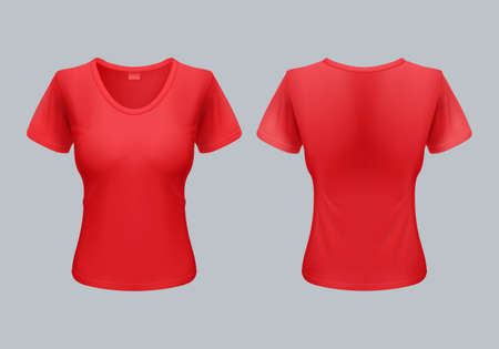front views: Women T-Shirt Template Back and Front Views in Red