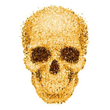 calavera: Cráneo del oro del brillo en el fondo blanco