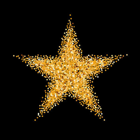 black circle: Gold Glitter Icon of Star Isolated on Black Background Illustration