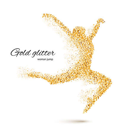 shape silhouette: Dancing Woman in the Form of Gold Particles on White