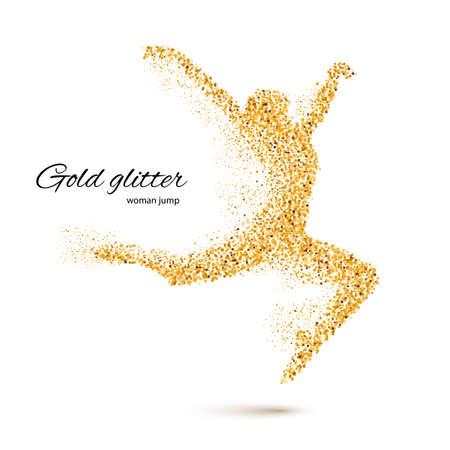 forme: Danse femme dans la forme de particules d'or sur le blanc