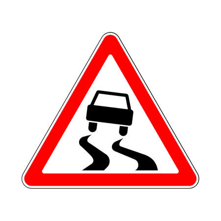 hazardous sign: Traffic-Road Sign: Slippery or Hazardous Road Surface when Wet