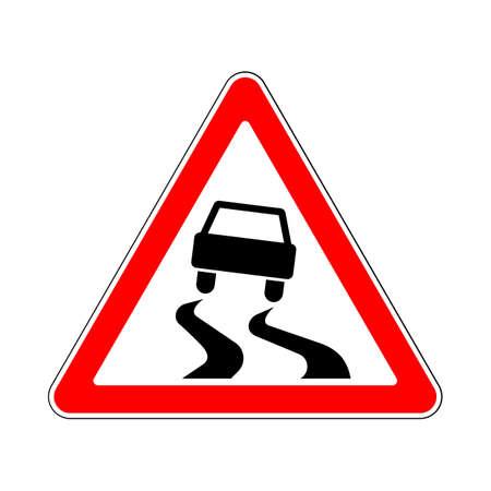 Znak drogowy-drogowy: Śliska nawierzchnia drogi lub niebezpieczne When Wet