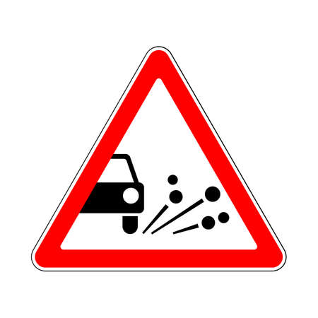 skidding: Traffic-Road Sign: Loose Chippings on the Road
