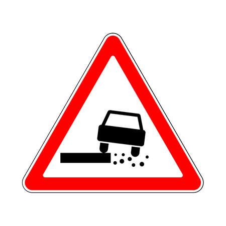 dangerous: Traffic-Road Sign: Dangerous Roadside on White Background