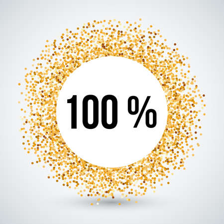 hundred: Golden Circle Frame with One Hundred Percent Text