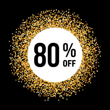 eighty: Golden Circle Frame on Black Background with Discount Eighty Percent