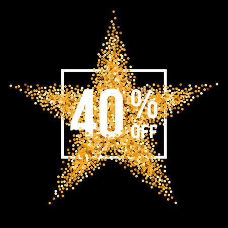 forty: Golden Star and Frame with Discount Forty Percent on Black Background Illustration