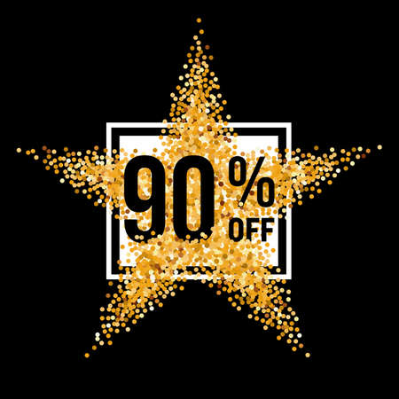 ninety: Golden Star and Frame with Discount Ninety Percent on Black Illustration