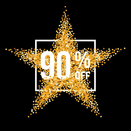 ninety: Golden Star and Frame with Discount Ninety Percent on Black Background