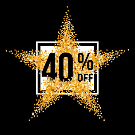 forty: Golden Star and Frame with Discount Forty Percent on Black