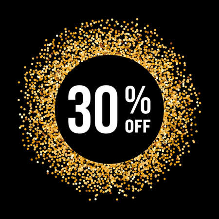 thirty percent off: Golden Circle Frame on Black Background with Text Thirty Percent Off Illustration