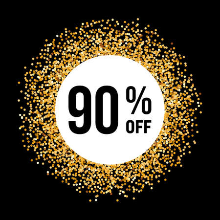 ninety: Golden Circle Frame on Black Background with Discount Ninety Percent