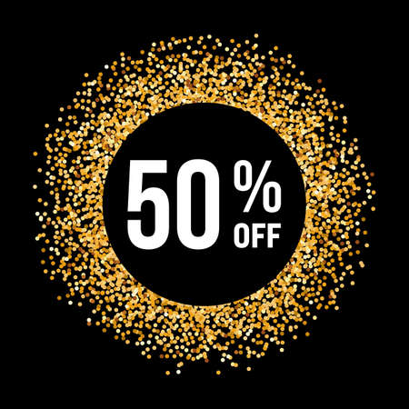 fifty: Golden Circle Frame on Black Background with Text Fifty Percent Off Illustration