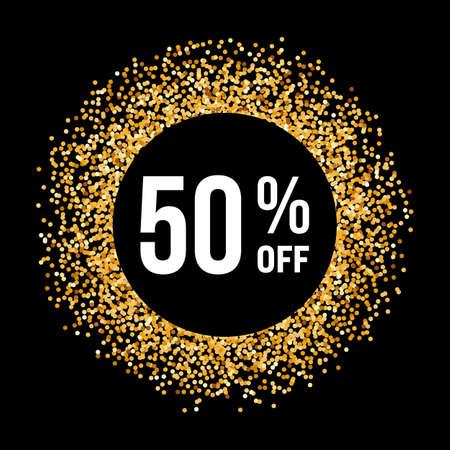 Telaio cerchio d'oro su sfondo nero con il testo Cinquanta per cento fuori Archivio Fotografico - 56208425