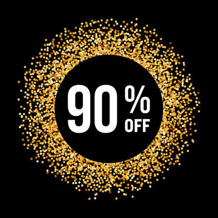 ninety: Golden Circle Frame on Black Background with Text Ninety Percent Off