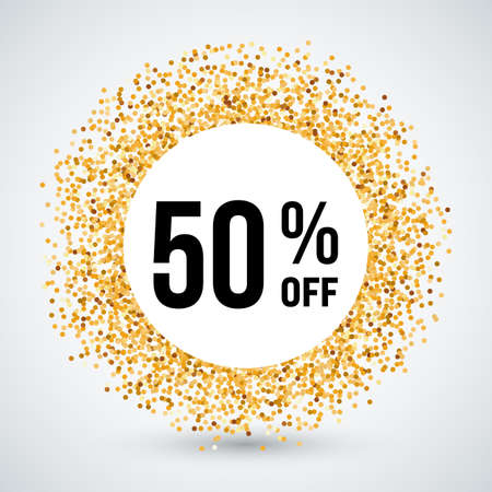 fifty: Golden Circle Frame with Discount Fifty Percent Illustration