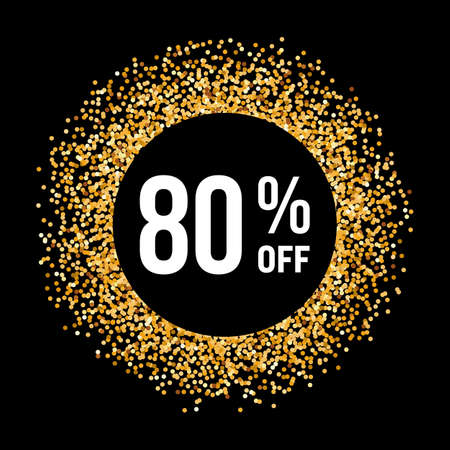 eighty: Golden Circle Frame on Black Background with Text Eighty Percent Off