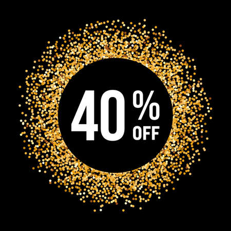 forty: Golden Circle Frame on Black Background with Text Forty Percent Off