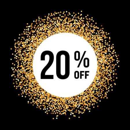 20: Golden Circle Frame on Black Background with Discount Twenty Percent