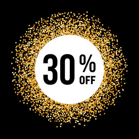 thirty: Golden Circle Frame on Black Background with Discount Thirty Percent