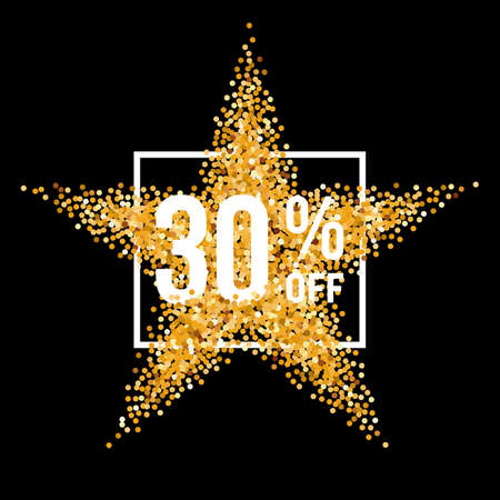 thirty: Golden Star and Frame with Discount Thirty Percent on Black Background