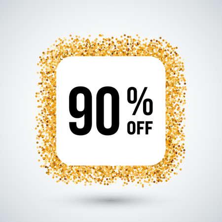 ninety: Golden Frame with Discount Ninety Percent for Design Illustration