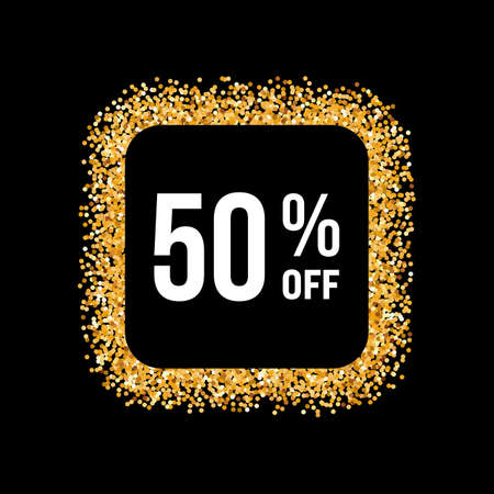 fifty: Golden Frame on Black Background with Text Fifty Percent Off Illustration