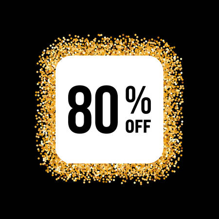 eighty: Golden Frame on Black Background with Discount Eighty Percent