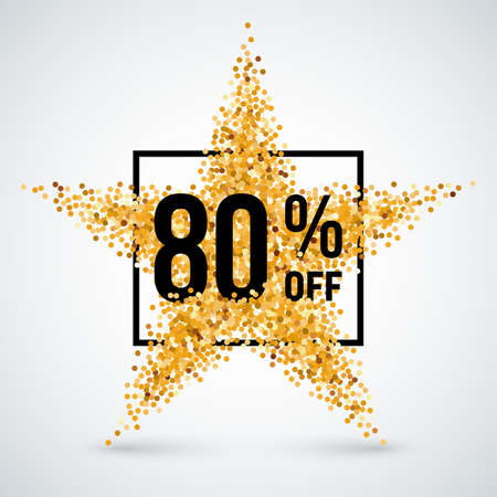 eighty: Golden Star and Frame with Discount Eighty Percent