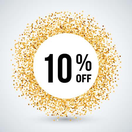 ten: Golden Circle Frame with Sale Text Ten Percent Off