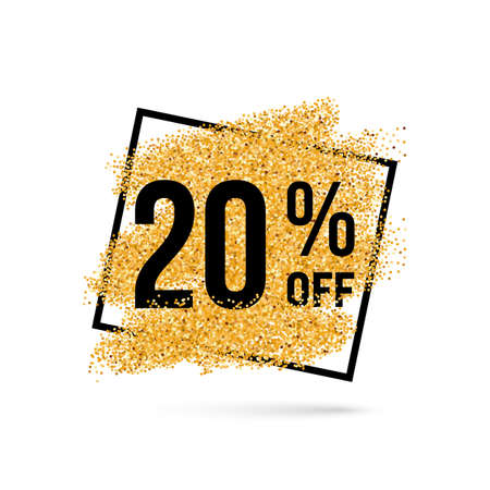 Gold Discount Background for Sale Sign with Twenty Percent