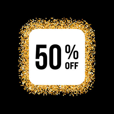 fifty: Golden Frame on Black Background with Discount Fifty Percent