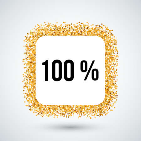one hundred: Golden Frame with One Hundred Percent Text