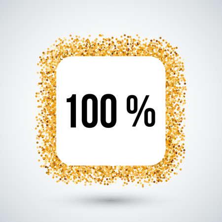 hundred: Golden Frame with One Hundred Percent Text