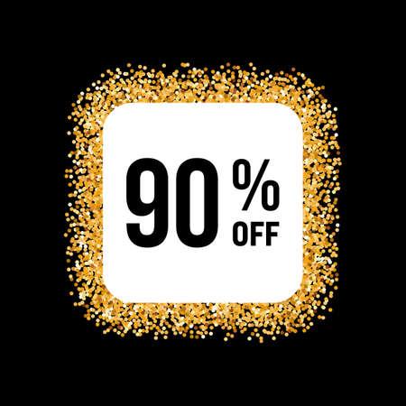 ninety: Golden Frame on Black Background with Discount Ninety Percent Illustration