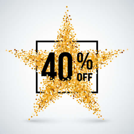 forty: Golden Star and Frame with Discount Forty Percent
