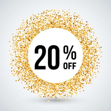 twenty: Golden Circle Frame with Discount Twenty Percent Illustration