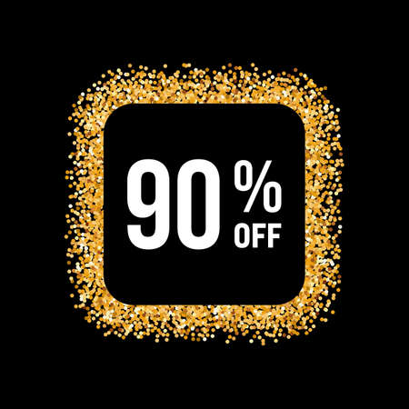 ninety: Golden Frame on Black Background with Text Ninety Percent Off