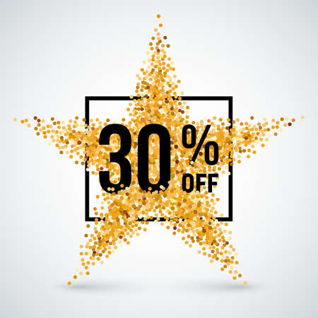 thirty: Golden Star and Frame with Discount Thirty Percent